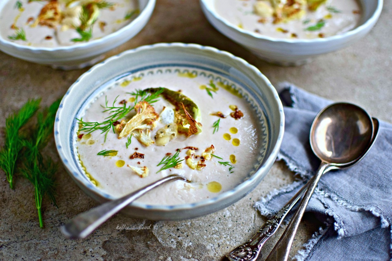 Sumac, smoked paprika and dill are the the little extras that amp the flavour in this creamy-textured cauliflower and white bean soup. If you have time, roast the cauliflower for a beautifully nutty, rounded taste. This is a perfect vegan, whole food soup to serve family and friends alike. It even tastes good cold with shards of toasted pitta for dipping.