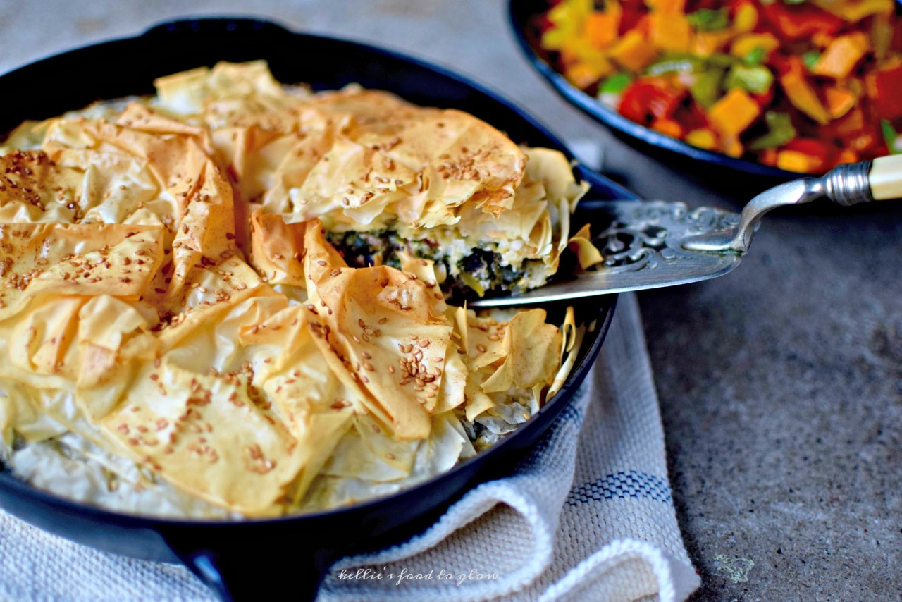 A summer-into-fall chard, portabello mushroom and broccoli pie, studded with nuggets of feta, buttery pine nuts and magical za'atar. Covered, of course, with a few hand-crumpled layers of paper-thin phyllo pastry. Easily vegan and gluten-free.