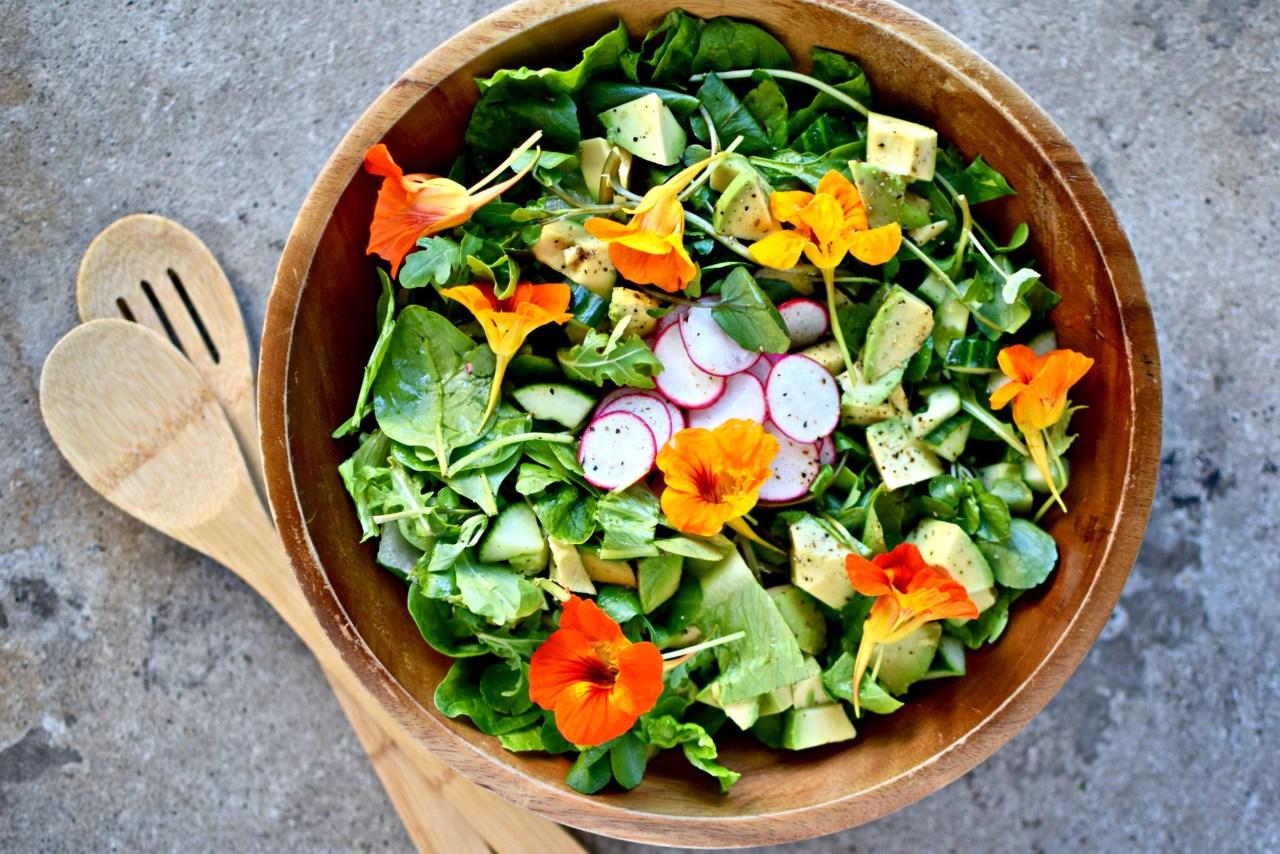 green salad with nasturtiums