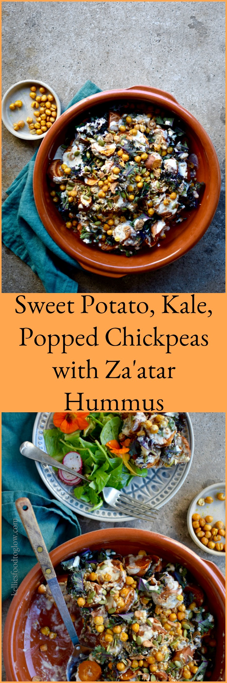 Plump disks of roasted sweet potato, shreds of kale, popped golden turmeric chickpeas, all slathered in an easy and hugely nourishing za'atar hummus dressing. An easy vegan lunch, side dish or salad - the choice is yours.