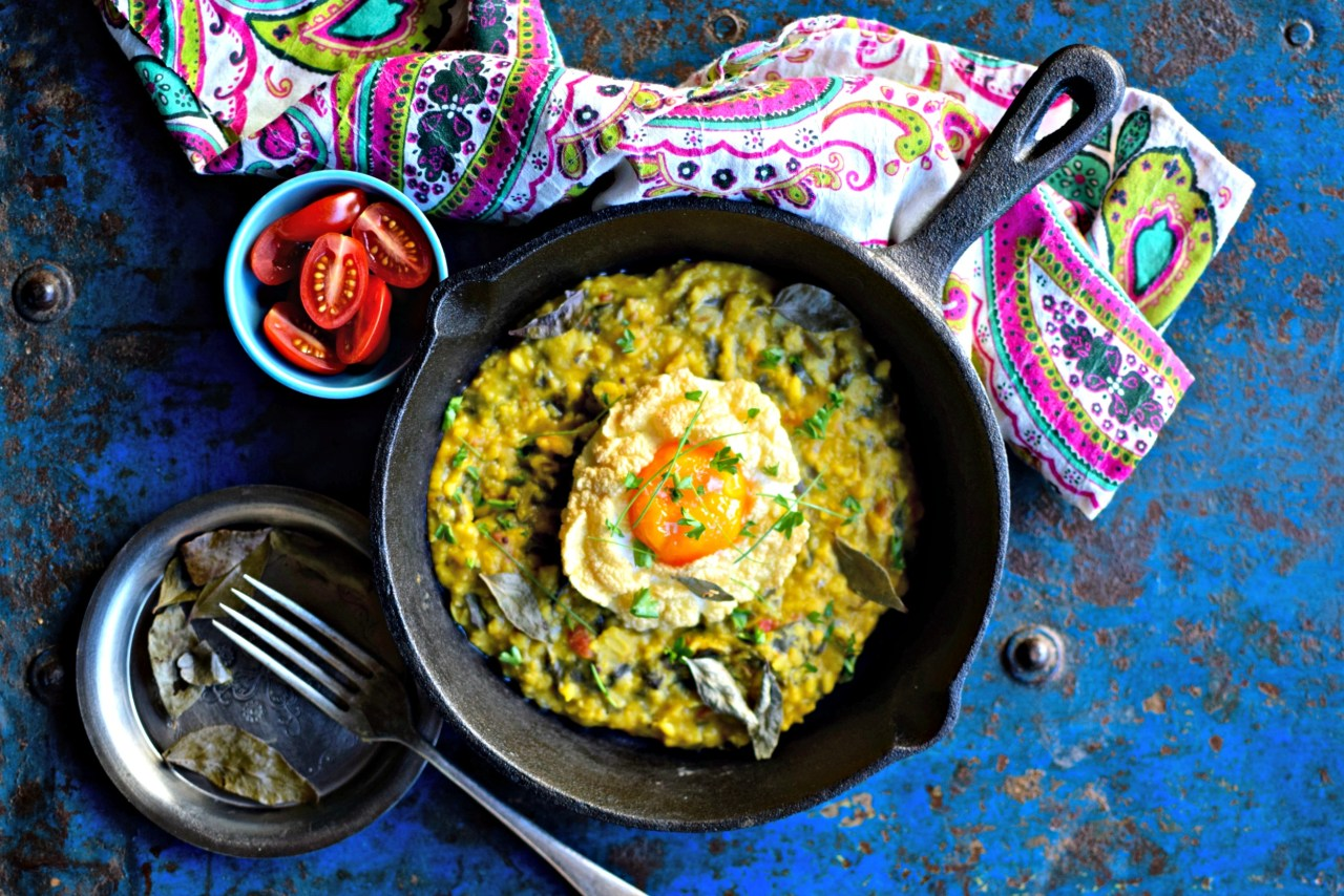 cloud eggs with dal for breakfast, brunch or dinner