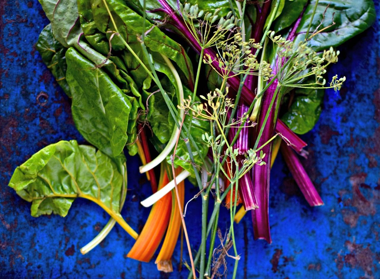 rainbow chard stems and fennel seeds
