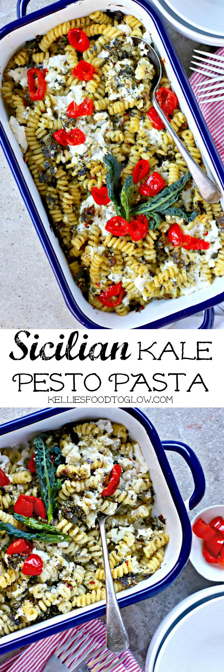 A comforting pesto pasta supper dish with the vibrant Sicilian flavours of lemon, garlic, capers and sultanas, chopped with blanched kale and stirred into your favourite pasta shapes with soft ricotta cheese.