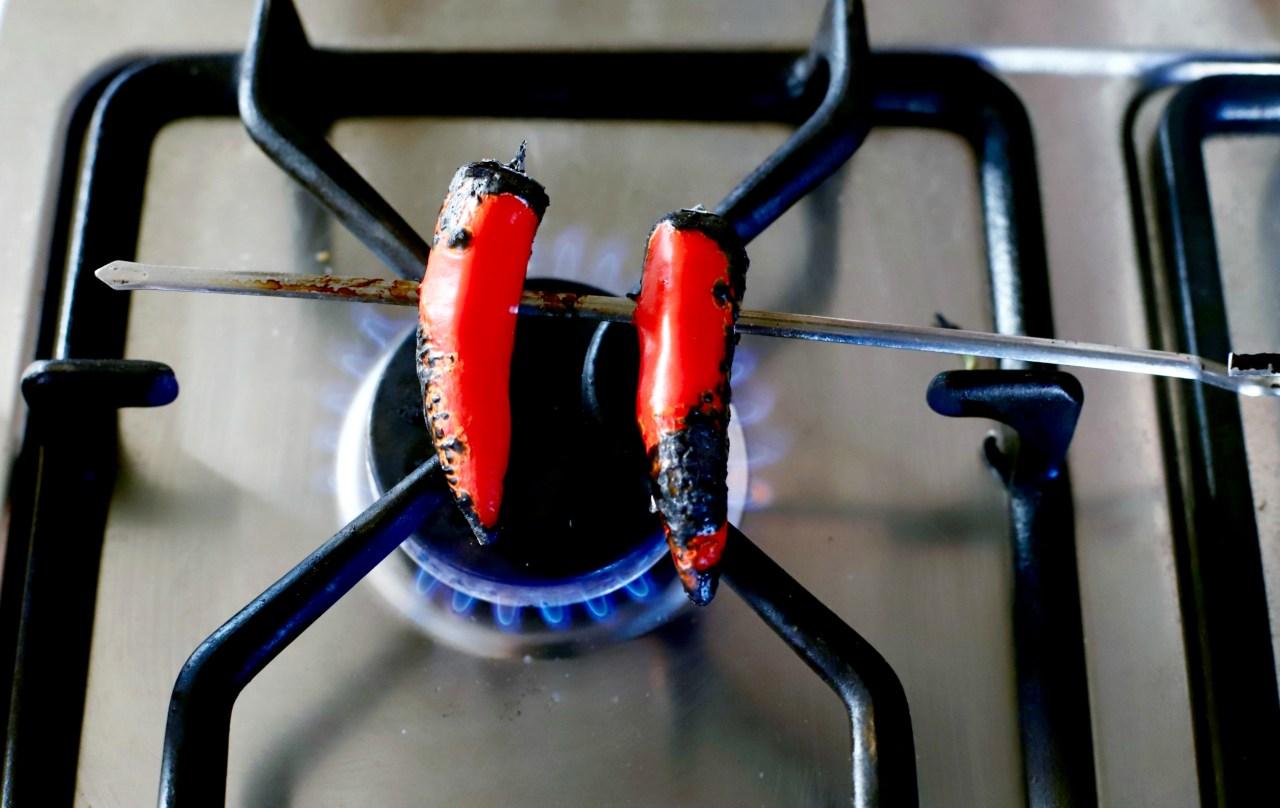 charring chillies