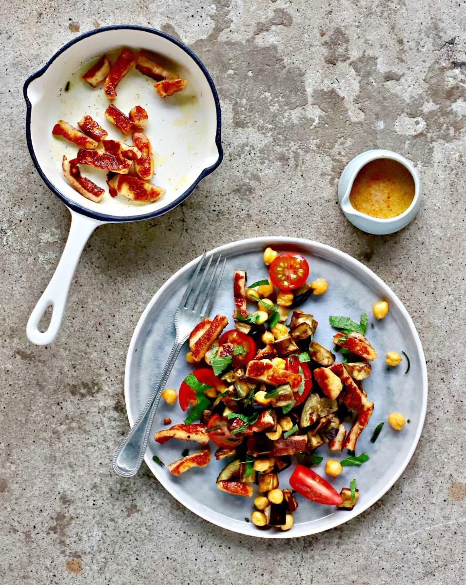 Honey Crisp Halloumi Chickpea Salad How To Grow A Kid