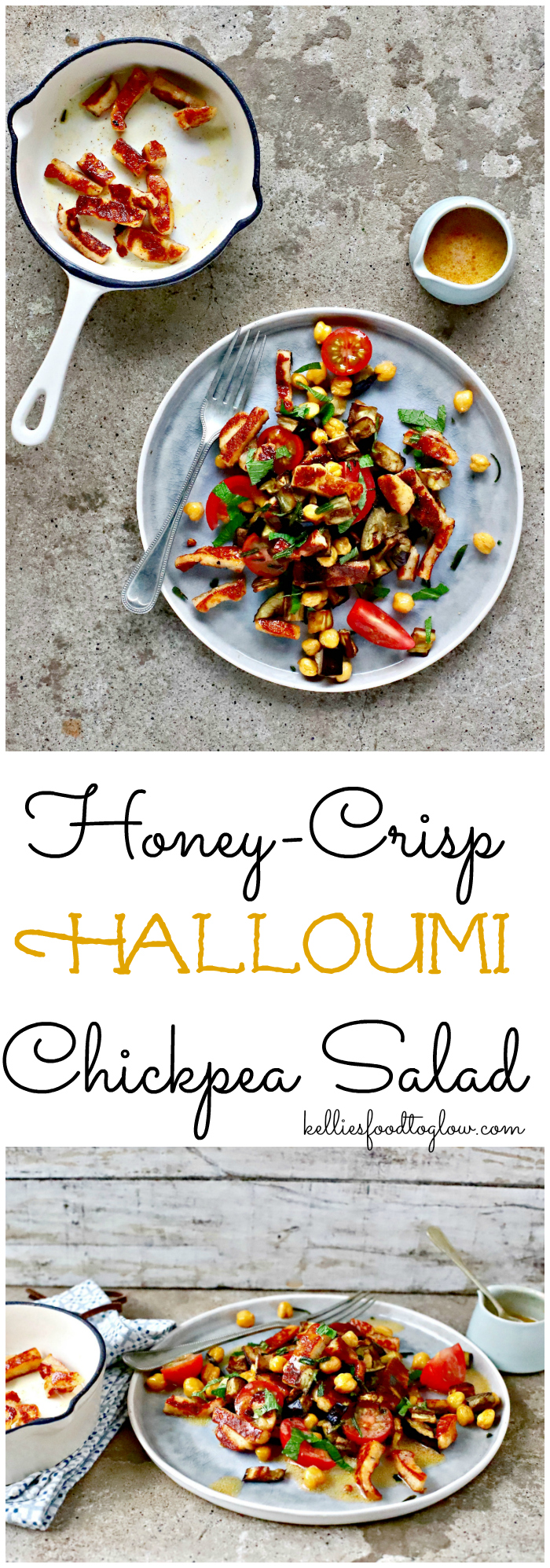 Think beyond lettuce and cucumber to elevate your summer salad game. Roasted #chickpeas, eggplant and smoky, honey-crisped #halloumi will become your go-to main course #salad for warm days and cool evenings. #summerfood #vegetarian