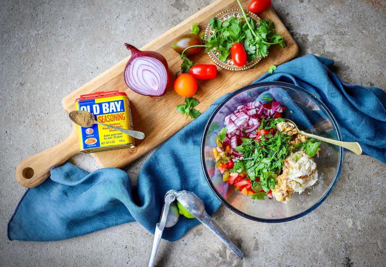 Old Bay Crab Salsa - grab a bag of cantina-style tortilla chips and dig in! #dips #salsa #easyrecipe #crab