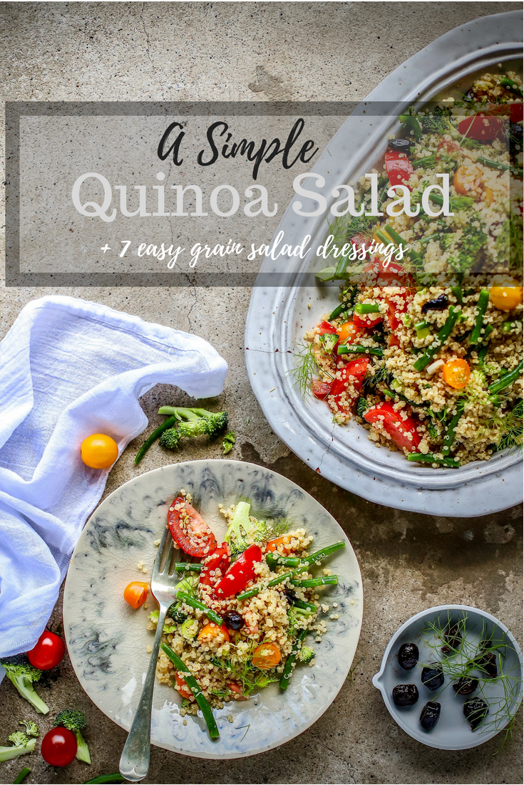 a simple #quinoa #salad plus 7 dressings to change things up. #grains