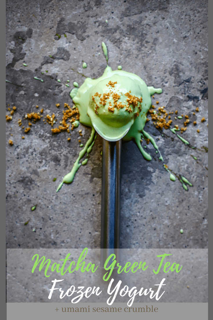 Healthy, lower sugar frozen yogurt with the goodness of #matcha #greentea and the umami of #Japanese sesame crumble. #frozenyogurt #froyo #dessert