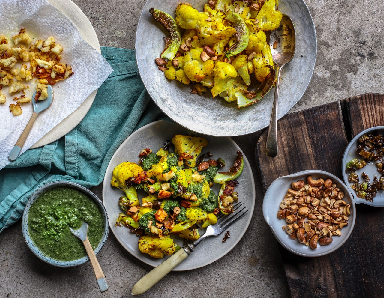 Green herb and coconut #cauliflower with crispy paneer crumbs is a light Indian-inspired #supper dish or zesty #sidedish. #vegetarian #Indianfood #recipe