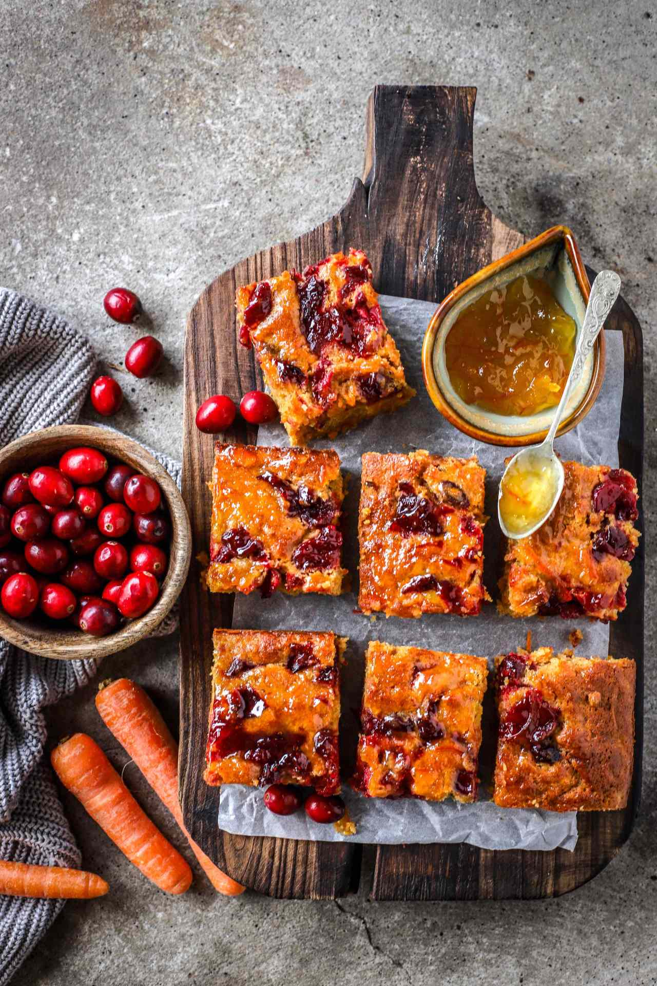 """Marmalade Carrot Cake with tangy swirls of bursting cranberries is the perfect """"just-in-case"""" cake to have on standby during the festive season. #winter #cake #baking #marmalade #carrotcake #christmas"""