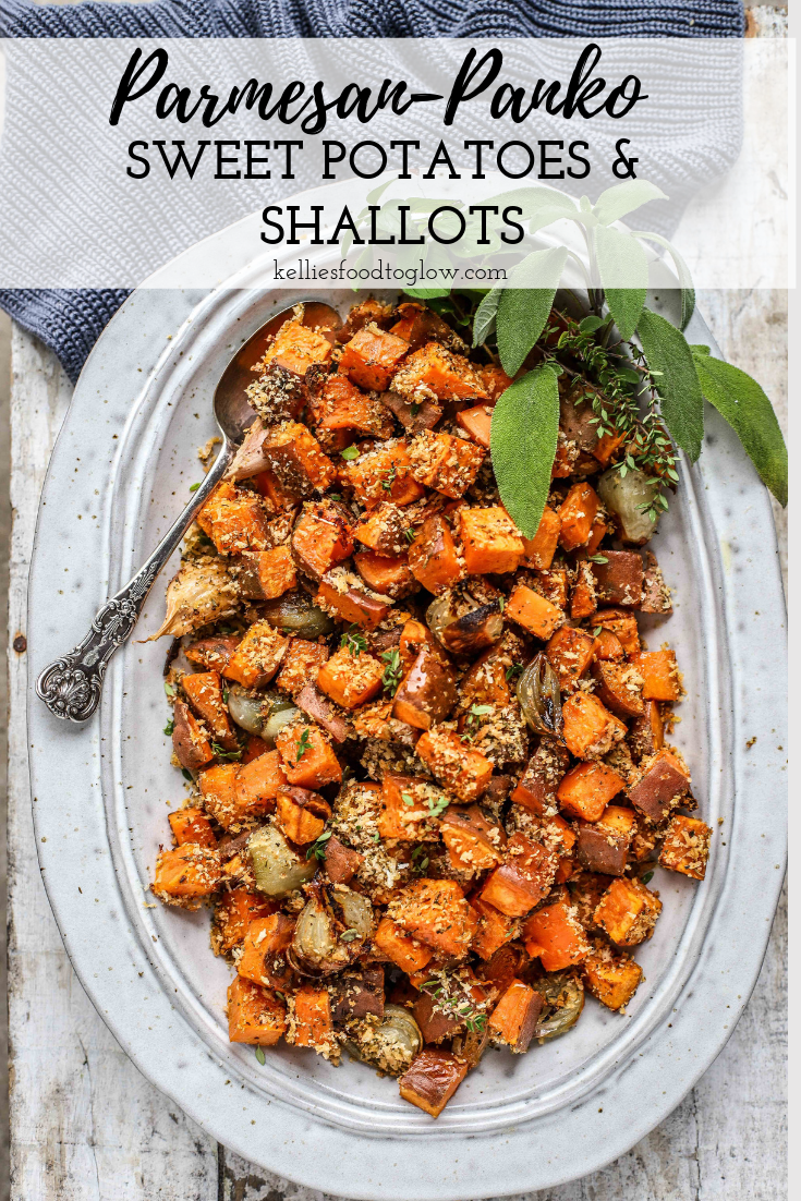 Roasted Parmigiano Reggiano Sweet Potatoes and Shallots are a super-simple sweet, savoury, crunchy, and soft nutritious side dish that will have your family asking for seconds. These would be great for any dinner - festive or everyday. #sidedish #sw