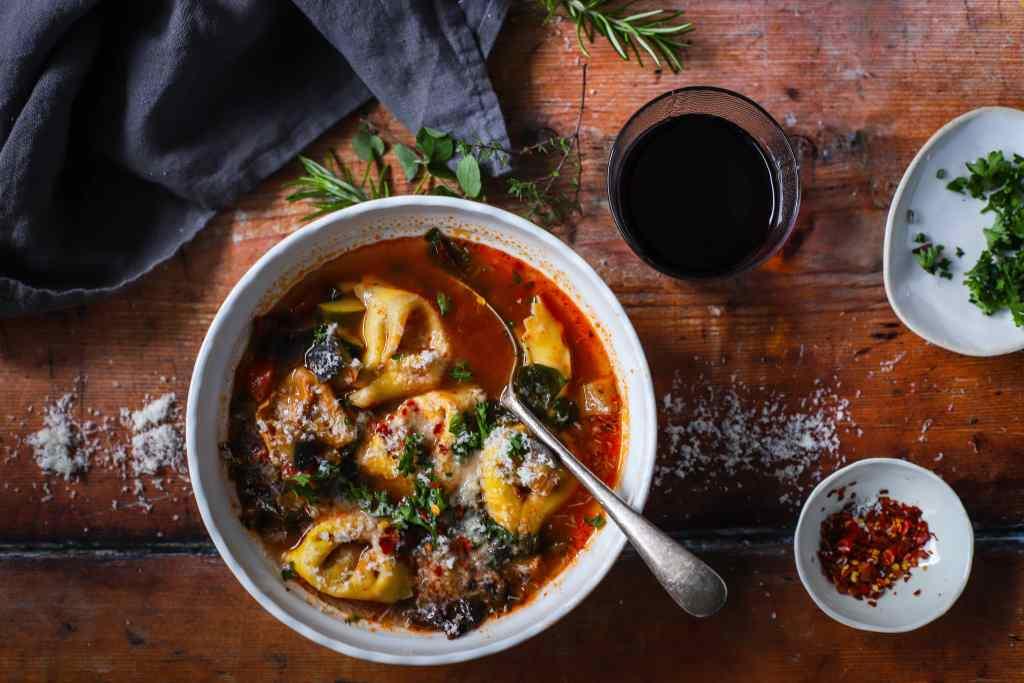 eggplant parmesan tortellini soup with vegetables
