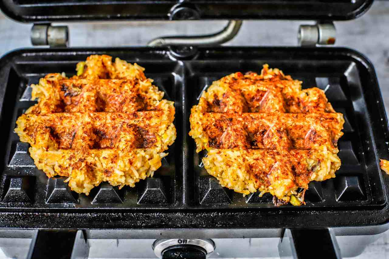 kimchi rice waffles in waffle maker