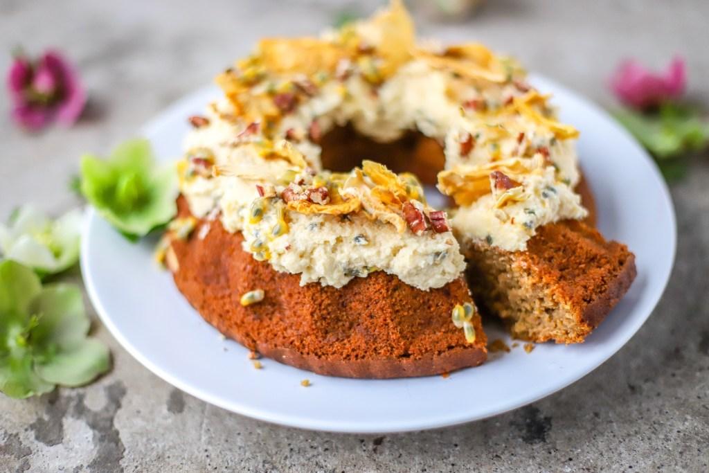 Vegan Hummingbird Cake with Passion Fruit Icing