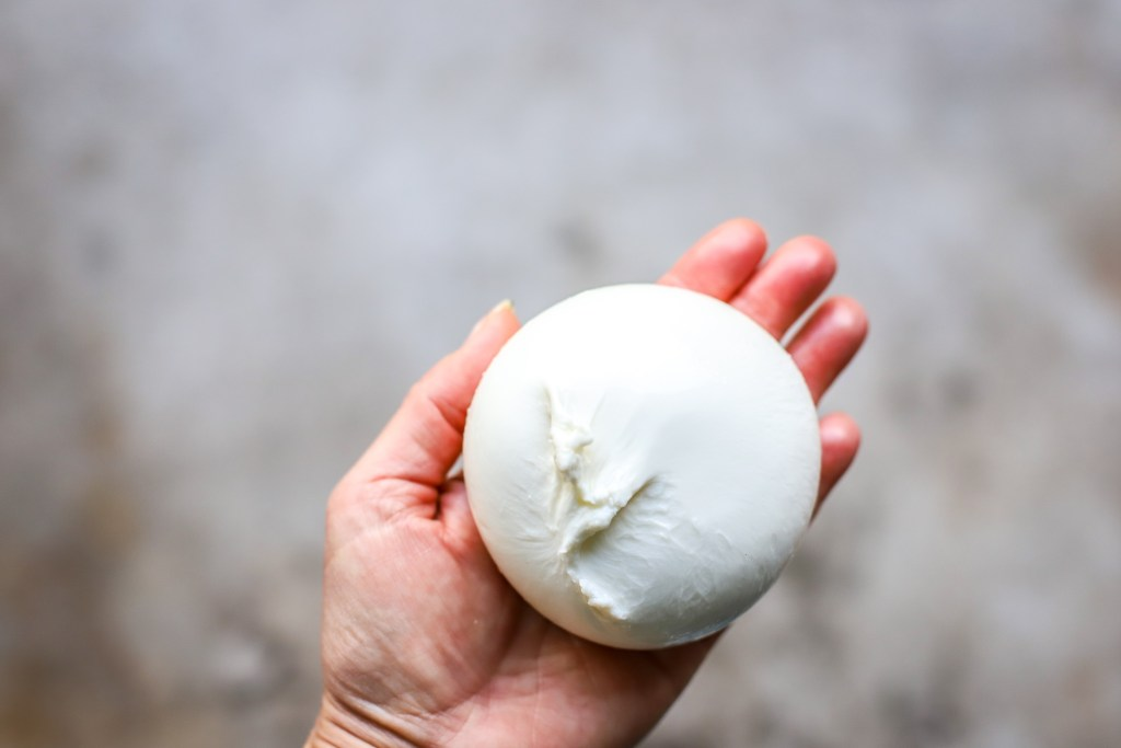 ball of fresh burrata in hand over concrete background