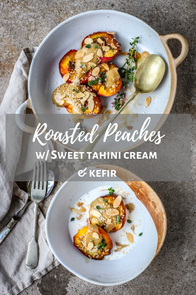 pinterest long pin of roasted peaches in bowls