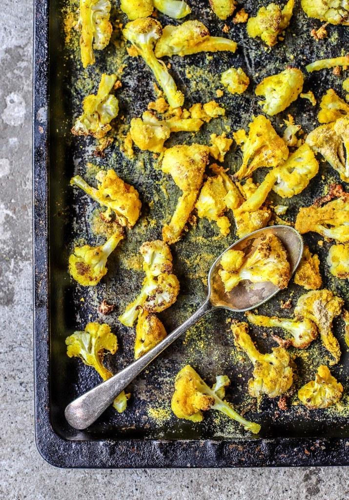 roasted cornmeal cauliflower on tray
