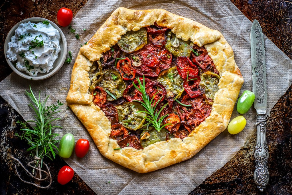 roasted tomato galette on antique baking tray