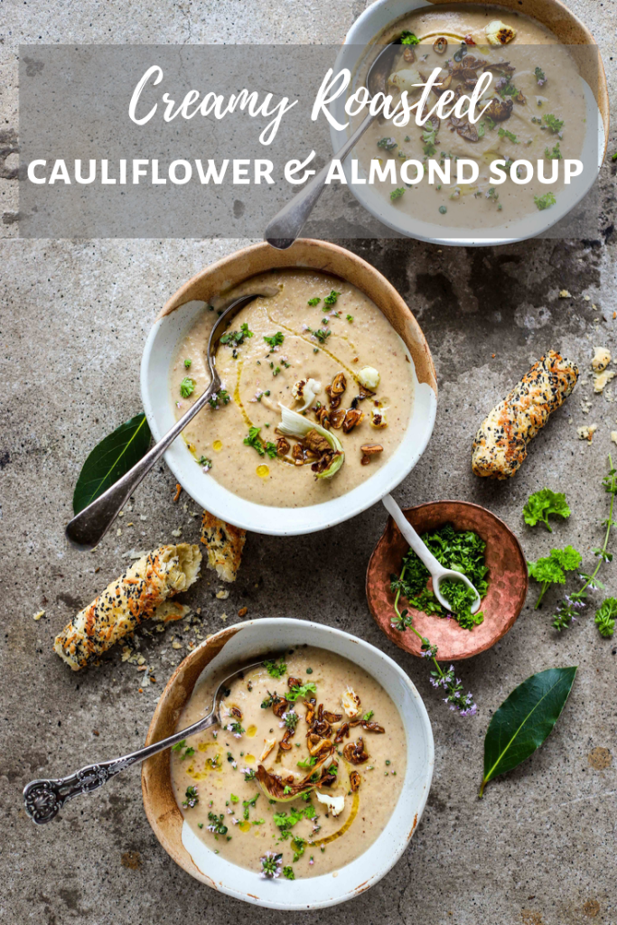 roasted cauliflower and almond soup
