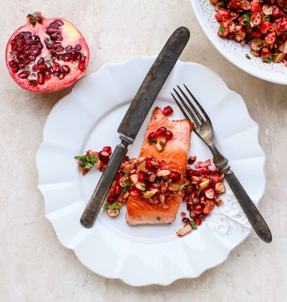 salmon with cranberry-pomegranate salsa