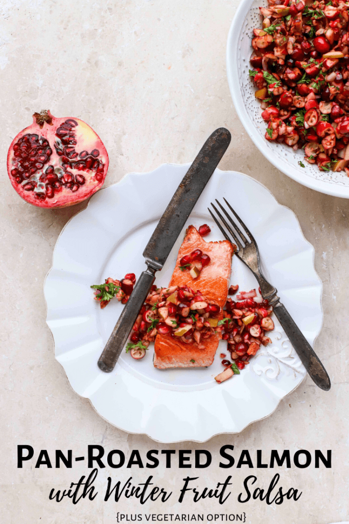 pan-roasted salmon with winter fruit salsa vertical pin