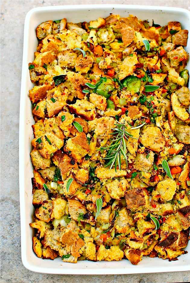 Southern cornbread stuffing in white rectangular dish