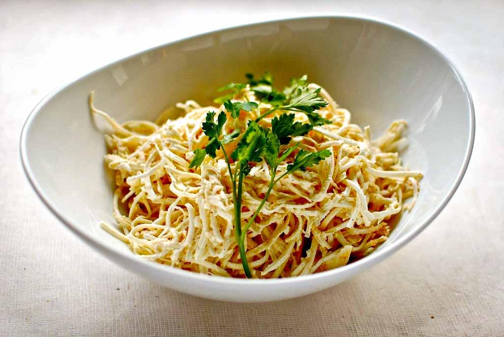 celeriac remoulade in white dish