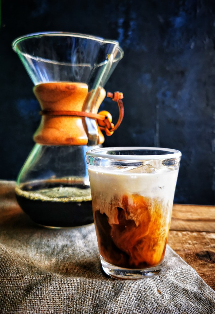 Japanese-style iced coffee in glass with carafe