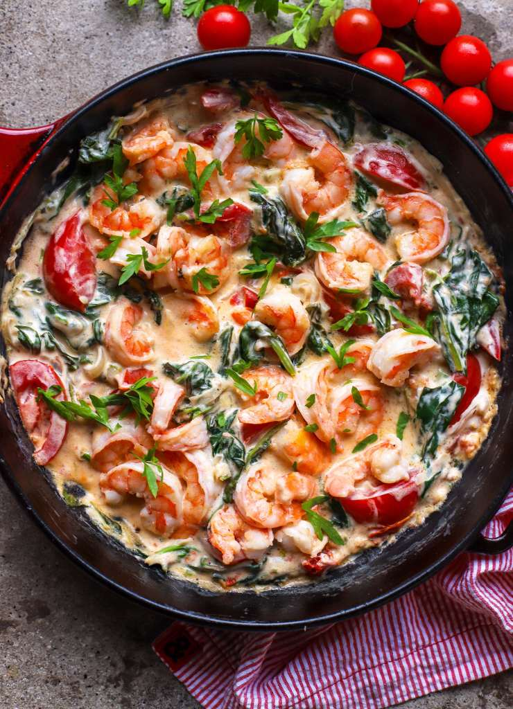 creamy shrimp skillet with greens and tomatoes