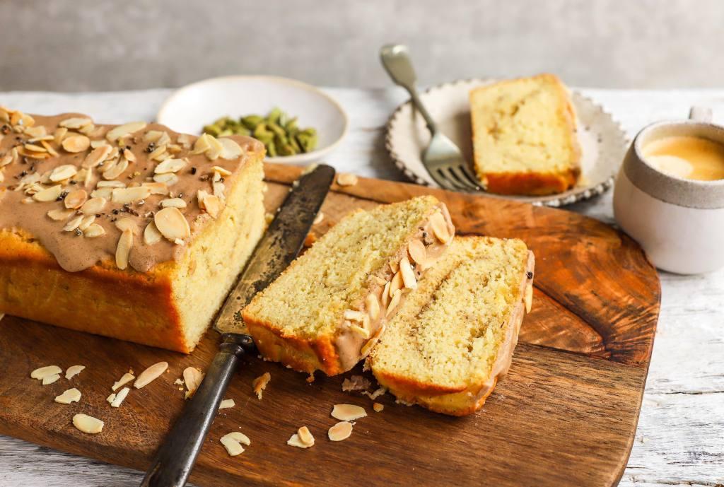 sliced cardamom cake