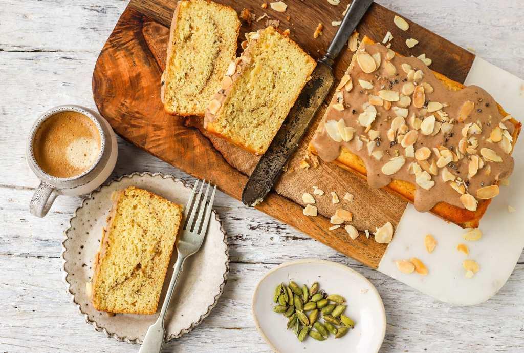 coffee cake on cutting board