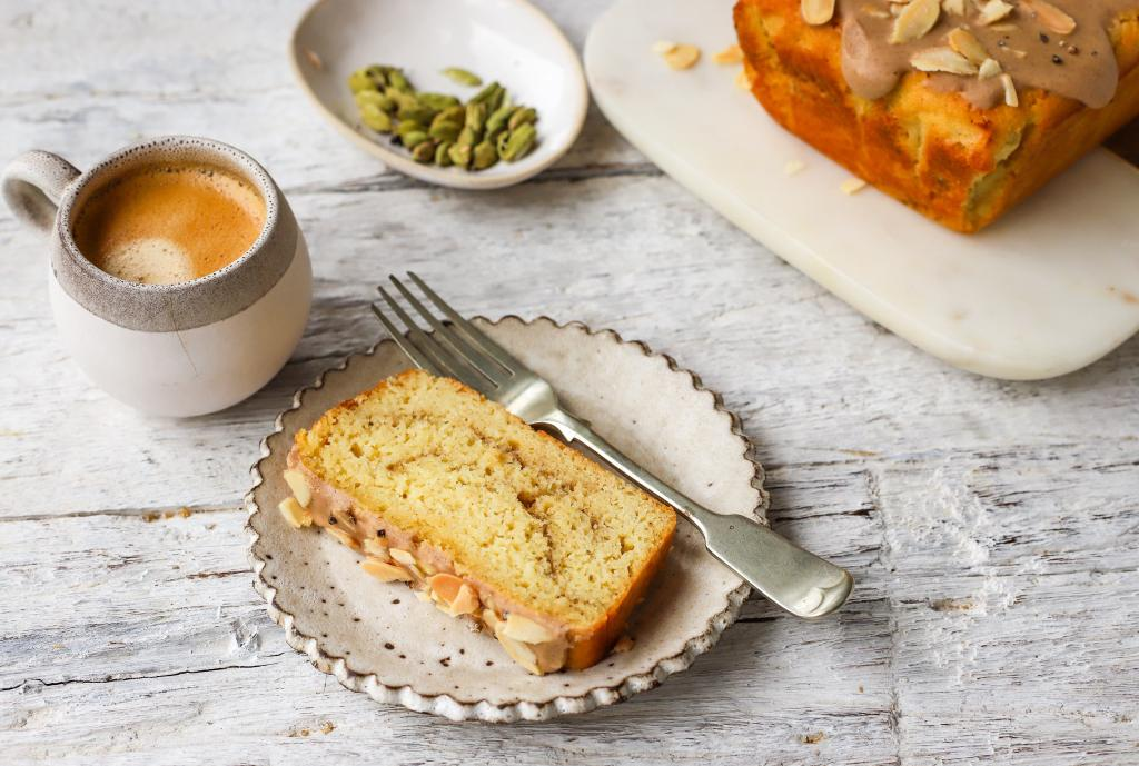 coffee cake with cardamom on plate with vintage fork