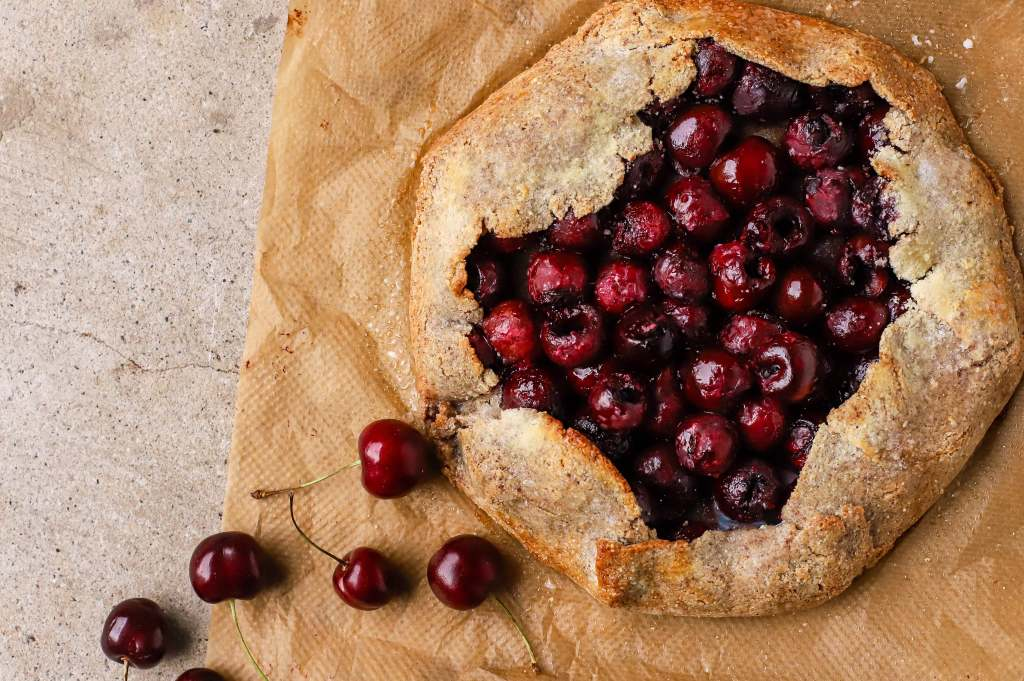 cherry galette with whole stemmed cherries