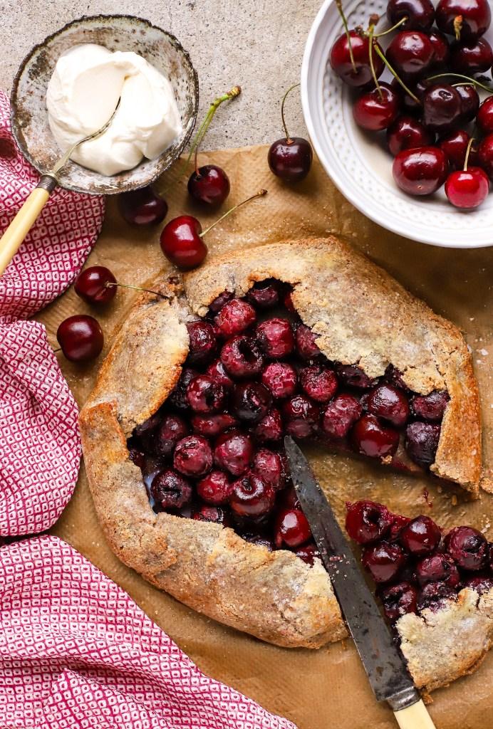 cherry bakewell galette tart
