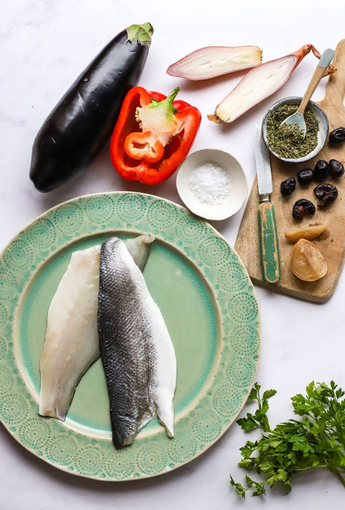ingredients for Greek sea bass