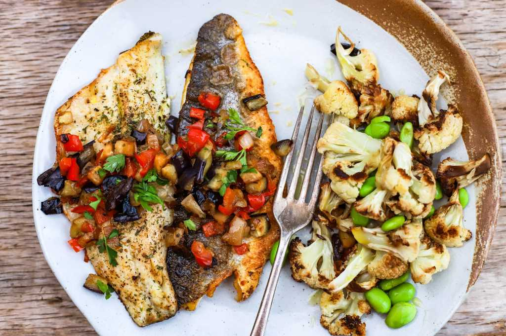 sea bass with Mediterranean vegetables salsa