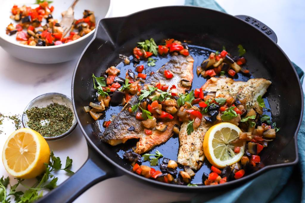 Greek-style sea bass