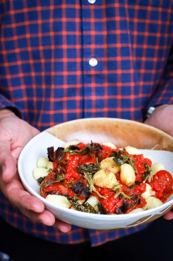 seaweed and shiitake mushrooms marinara sauce over gnocchi