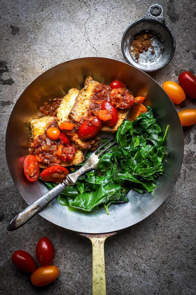 sichuan tomatoes and tofu with greens