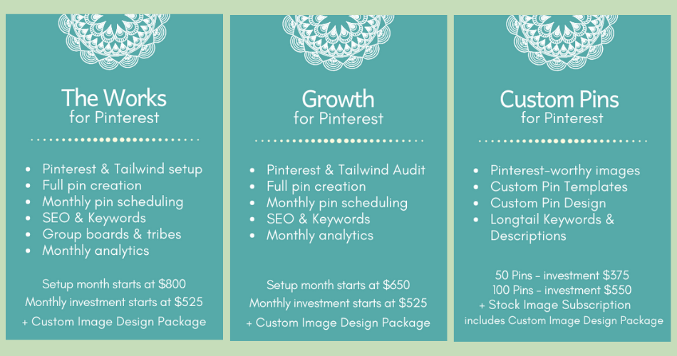 The Works for Pinterest package, Growth for Pinterest package, Custom Pins for Pinterest package
