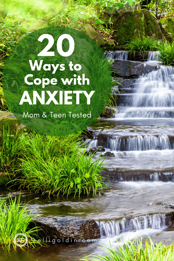 Green plants next to a stepped waterfall with text overlay: 20 Ways to Cope with Anxiety - Mom and Teen Tested