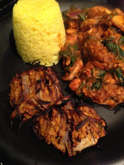 Onion bhajis (0.5 syns each). Recipe here:https://kellsslimmingworldadventure.wordpress.com/2016/03/16/recipe-onion-bhajis/