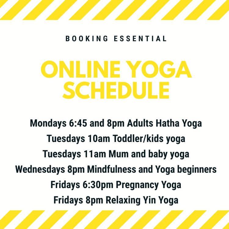 Online yoga timetable with KellyAnn Yoga