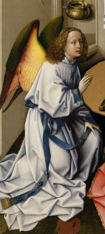 Detail of the angel from the Merode Annunciation