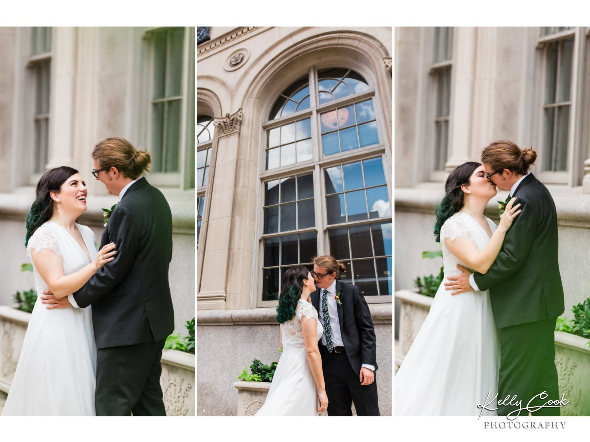 Bride and groom's first look in downtown St. Louis