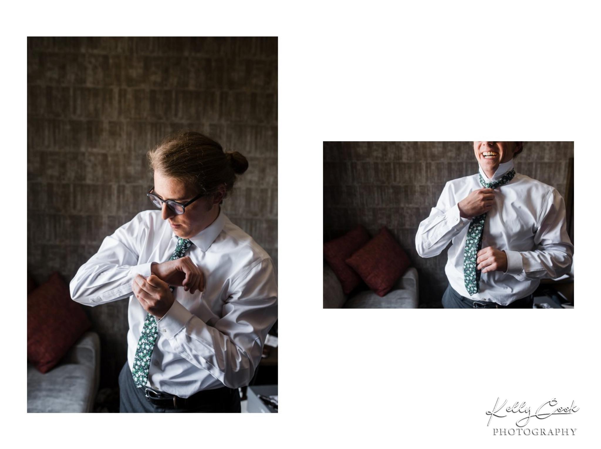 Groom getting ready on his wedding day