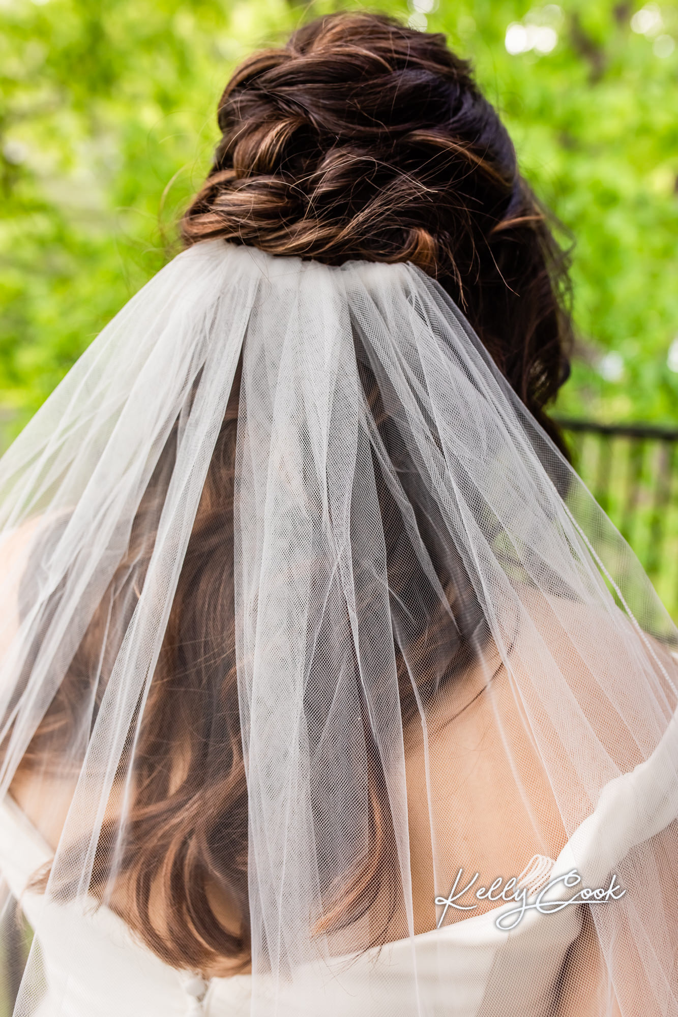Photo of a bride's hair and veil before her wedding