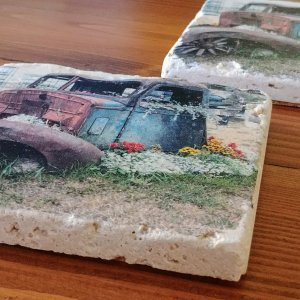 Old Truck with Flowers Coaster by Kelly Cushing
