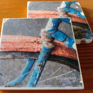 Blue Bike Wheel Coasters